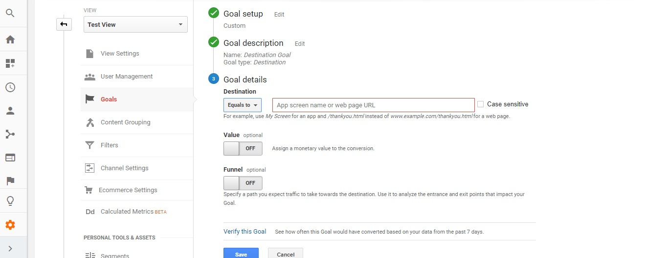 Choose Destination Goal - (Types of Goals in Google Analytics)