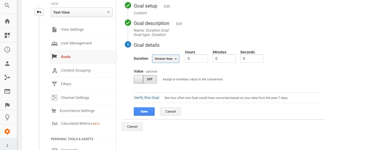 Click on Duration Goal - Types of Goals in Google Analytics