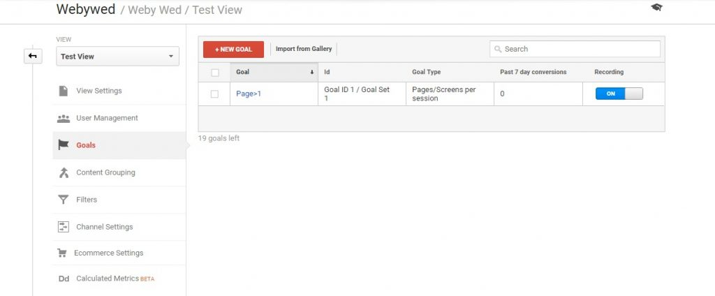 Click on New Goal (Types of Goals in Google Analytics)